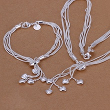 Silver plated refined luxury popular cordate pendants necklace bracelet two piece hot selling wedding jewelry S009