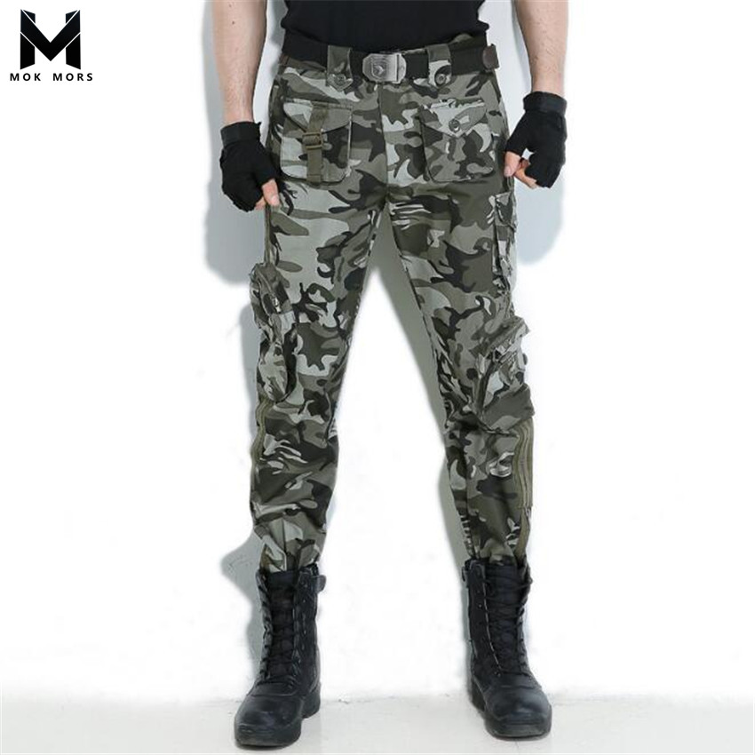 Men Pants Camouflage Military Multi-Pocket High-Quality Fashion Tide Brand Thin-Section