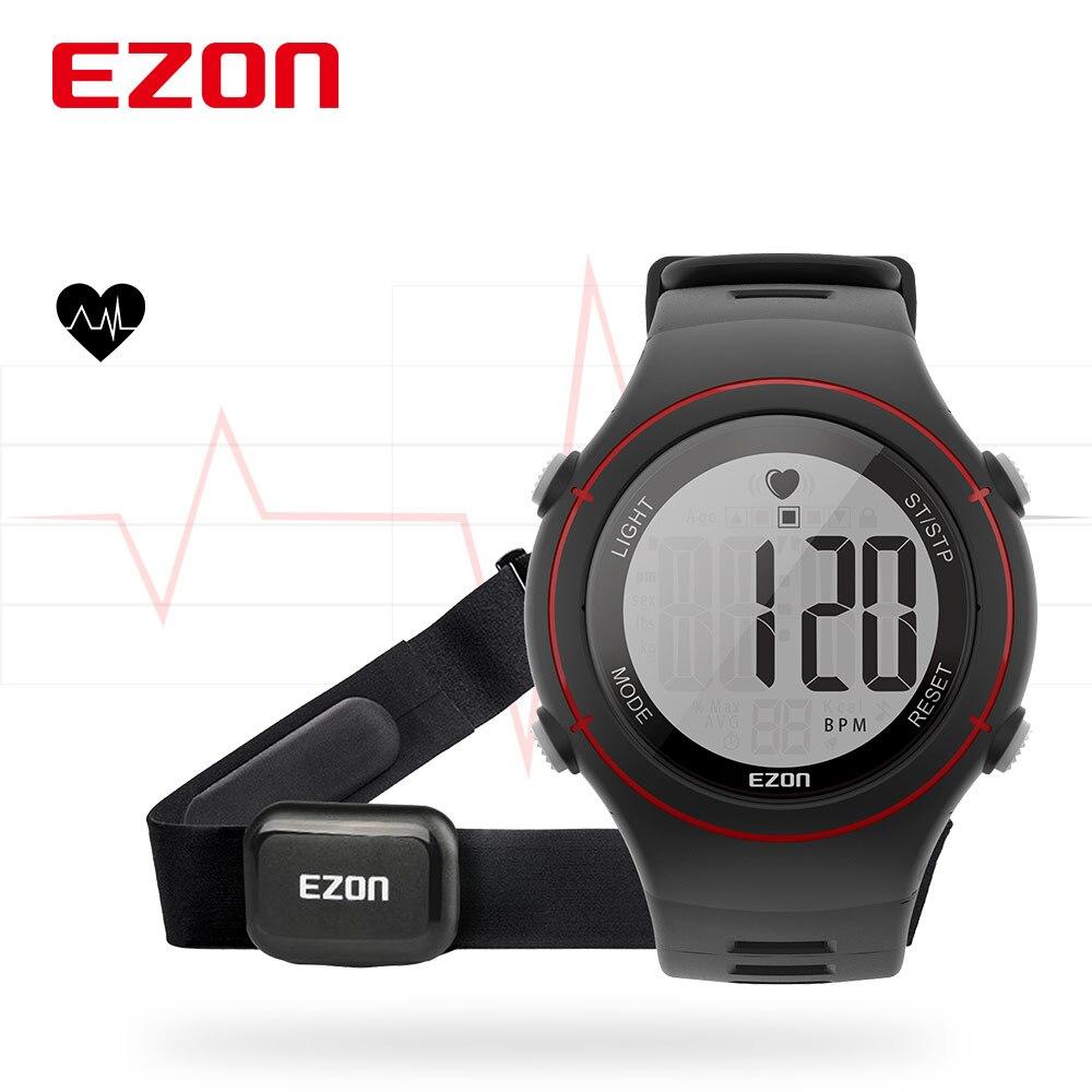 Nouveau EZON T037 hommes femmes sport montre-bracelet numérique moniteur de fréquence cardiaque en plein air course montre alarme chronographe avec sangle de poitrine