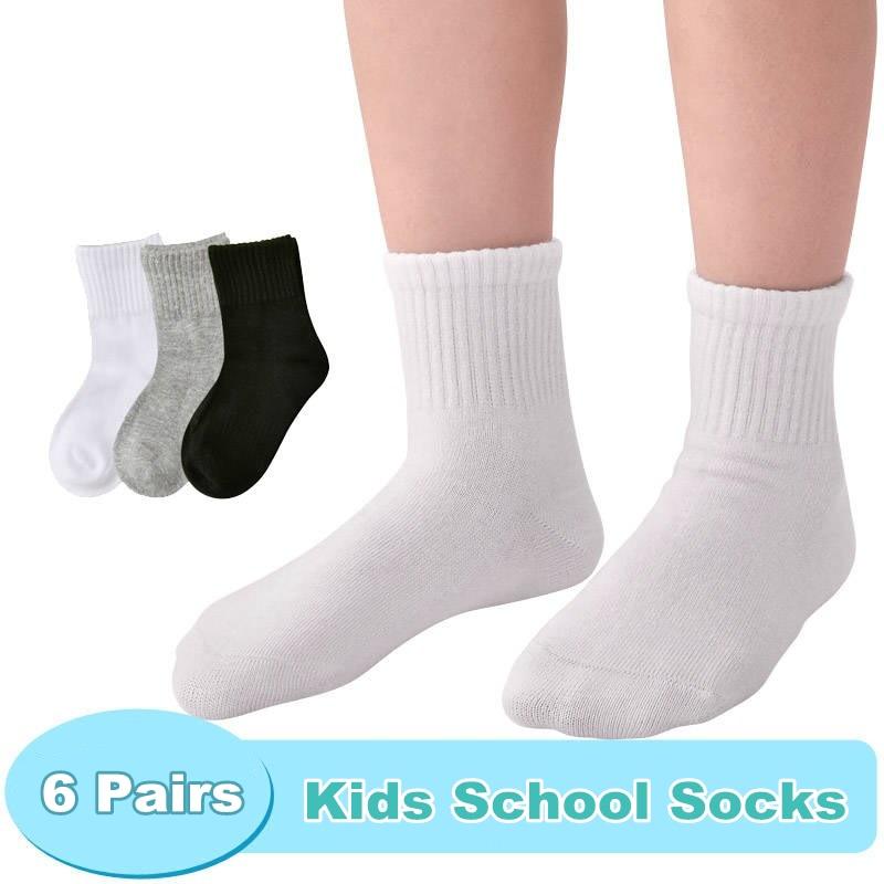 6Pairs Kids Athletic Socks Short School Socks Children White Sports Socks  Cosy Casual Boys Girls Solid Color Socks Pack 5 13Y|Socks| - AliExpress