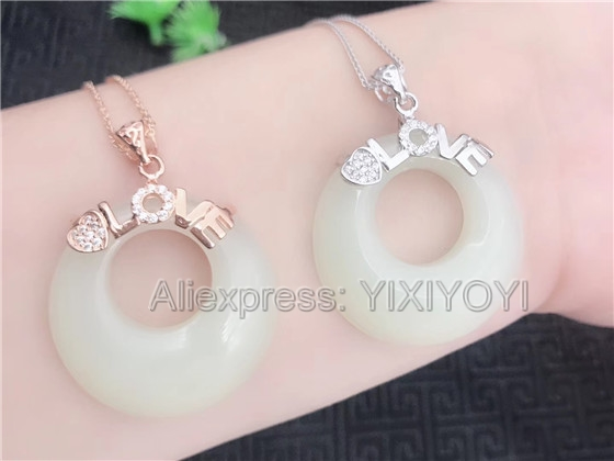 Beautiful 925 Sterling Silver Love Style White HeTian Jade Round Hollow Lucky Pendant + Chain Necklace Fine Jewelry Charm Gift