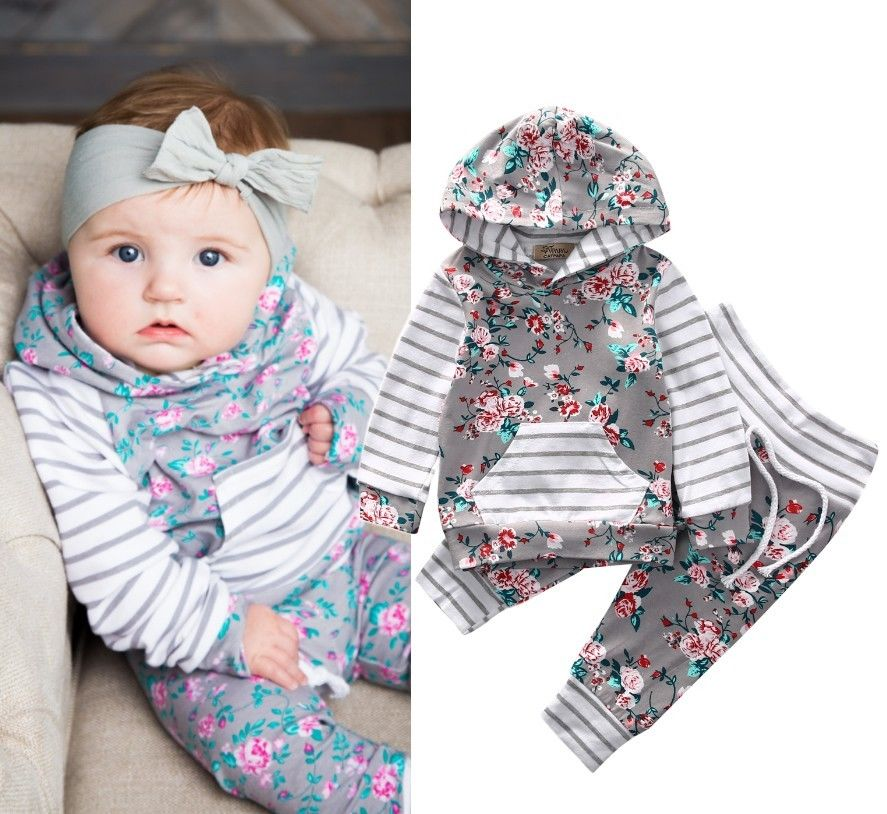 Floral Newborn Infant Baby Boy Girl Clothes 0-24M Infant Bebes Long Sleeve Hooded Shirt Tops Pant 2PCS Bebek Giyim Clothing Set
