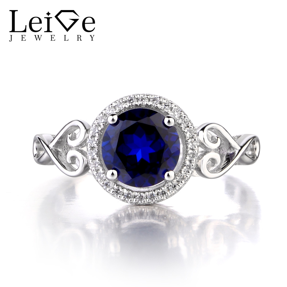 Leige Jewelry 925 Sterling Silver Lab Sapphire Ring Round Cut Gemstone September Birthstone Promise Engagement Rings for Women