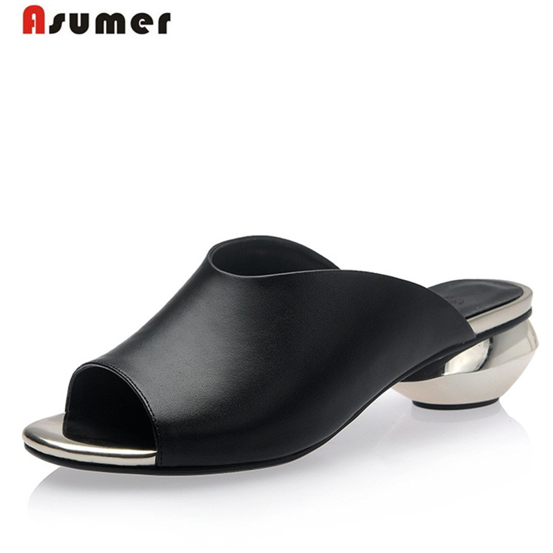 Asumer Big size 32-42 HOT 2018 Genuine leather shoes summer sandals solid low heels shoes fashion elegant women party black unique skateboard shaped bottle opener keychain random color