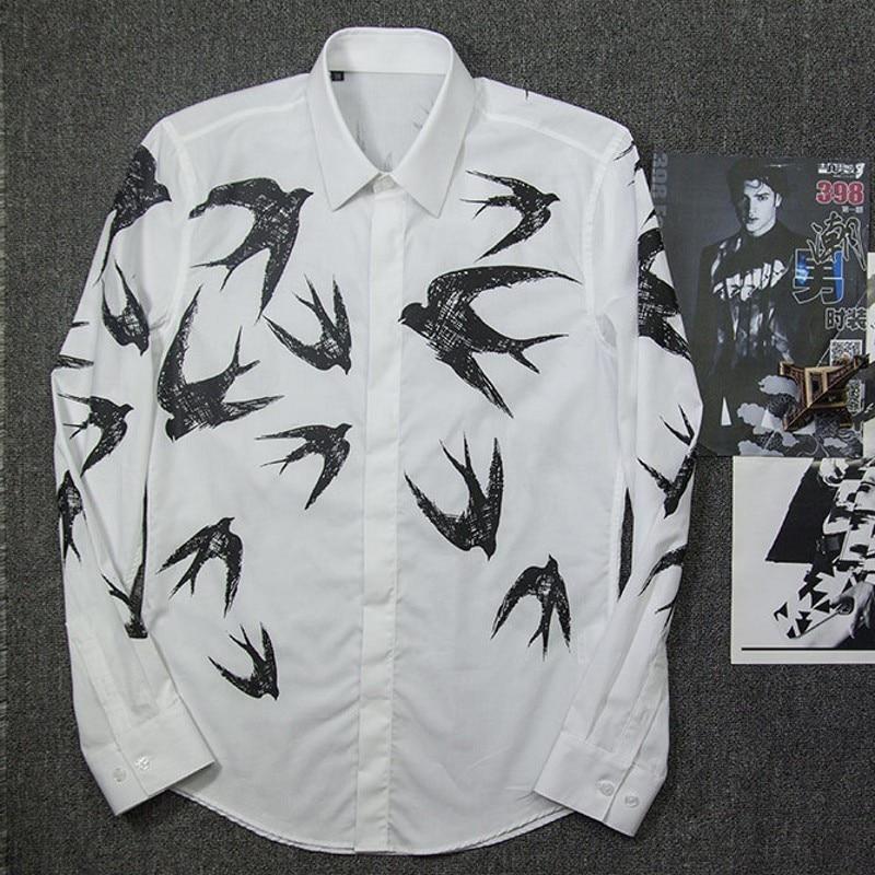 New Luxury Print Shirt Men Top Autumn Winter Slim Swallow Shirts Mens White High Quality Business Casual Cotton Man Shirt - 3
