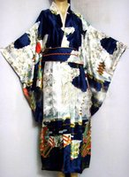 Navy blue Japanese Women's Silk Satin Kimono Yukata Evening Dress Haori Kimono With Obi peri One Size H0016 D