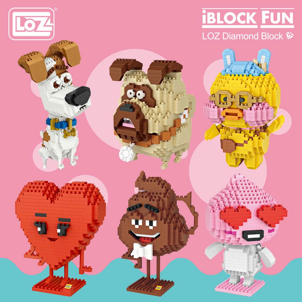LOZ Diamond Blocks Cute Toys Building Blocks Figures Plastic Assembly Toys Educational Smile Love Stool Cartoon Dog Animals DIY стоимость