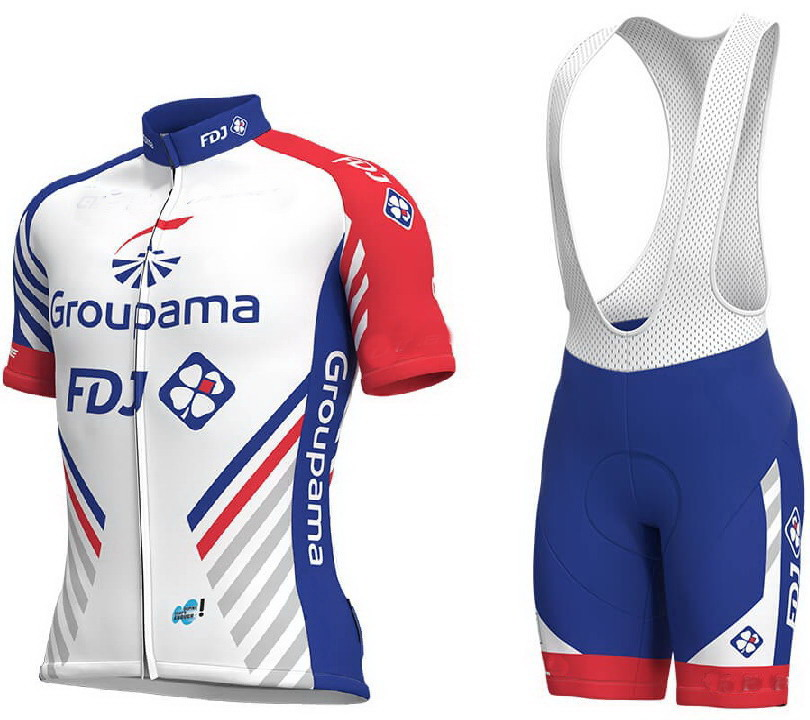 dc8093f40 2018 Groupama Fdj Pro Team Men Cycling Jersey Short Sleeve Bicycle Clothing  With Bib Shorts Quick-Dry Riding Bike Ropa Ciclismo