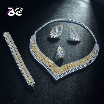 Be 8 New Arrival AAA Cubic Zirconia Elegant 2 Tones Necklace Earring Set  4pcs Jewelry for Women African Beads Jewelry Sets S304