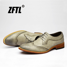 ZFTL New Men dress shoes Casual male Brock carved mens pointed tooling business Man formal  088