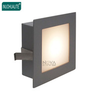 4pcs 1W 3W square aperture skirting lighting pressed steel diffused recessed silver wall light for indoor stairs