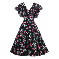 Vintacy Summer Chiffon Dress Women Vintage Cherry Print A Line Dress Lady Print Ruffle Sleeve V