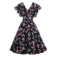 Vintacy Summer Chiffon Dress Women Vintage Cherry Print A Line Dress Lady Print Ruffle Sleeve V