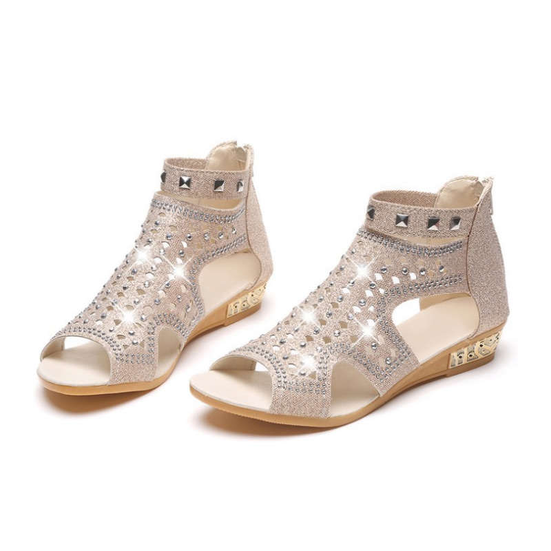 Women Sandals Open Toe Glitter Flat Heel Zipper Summer Shoes MSJ99