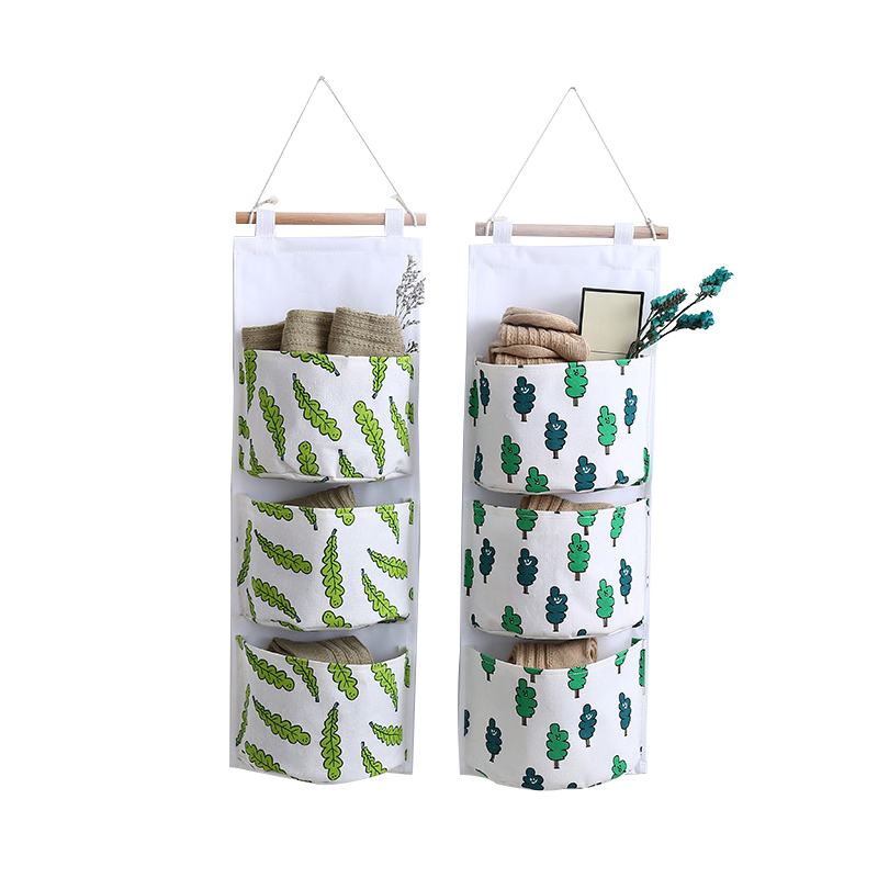 Cotton Linen Hanging Organizers 3 Pockets Wall Key Toys Holder Cosmetic Storage Bag Wardrobe Closet Accessories Supplies Stuff