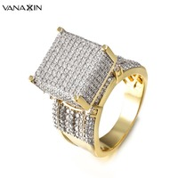 VANAXIN Wide Men Rings Square 3D Punk Zircon Ring Jewelry Paved CZ Crystal Shiny Gift For Male Engagement Ring High Quality Gold