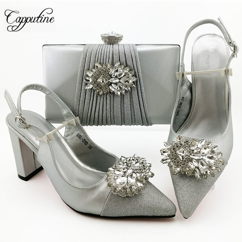 African Fashion Style  Ladies Shoes And Matching Bags Set For Wedding Party  High Heels Sandals Shoes And Bags  Set 9CM  SL010(China)