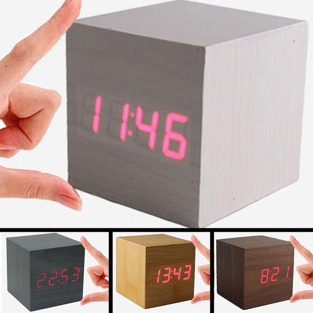 Fashion vintage Digital LED Wood Square Cube Desk Shelf Sound Control  Multi-function Alarm Clock home accessories