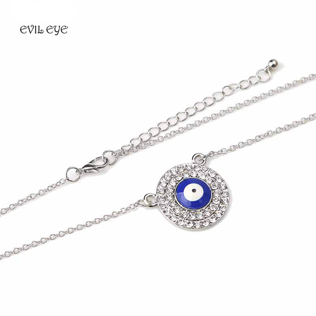 Evil eye new fashion goldsilver alloy necklace blue evil eye evil eye new fashion goldsilver alloy necklace blue evil eye charm round pendent necklace mozeypictures Images