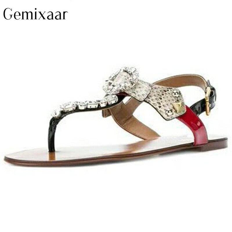 Rome Mix couleur cuir de vache cristal décoration tongs sandales bout ouvert Plat talon femmes chaussures vacances multicolore sandales