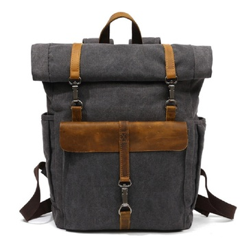 M245 New Arrive Fashion Canvas Leather Backpacks 14 Laptop Daypack for Traveling Teenager Back Pack Student Computer Rucksacks