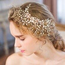Свадебный головной убор в виде листьев и веток, украшенный жемчугом, заколка для волос ручной работы, свадебные аксессуары для волос,, роскошное украшение для волос