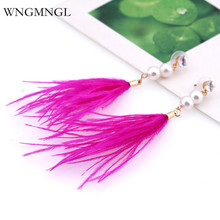 WNGMNGL 2018 New Arrival Fashion simulated peal Long Drop Dangle Earrings Colorful Feather Jewelry for Women Gift