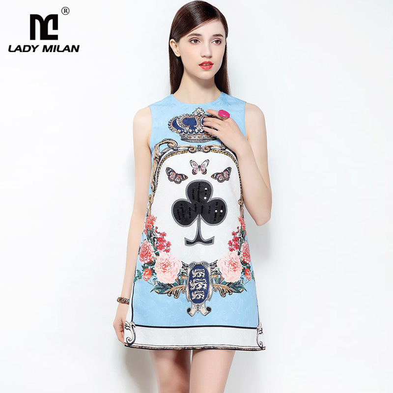 New Arrival 2018 Womens O Neck Sleeveless Printed Beaded Sequined A Line Short Designer Fashion Dresses