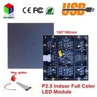 P2.5 SMD LED module Indoor Full color 160mm*160mm 64*64pixels 1/32 Scan rgb 7 color high resolution video led screen