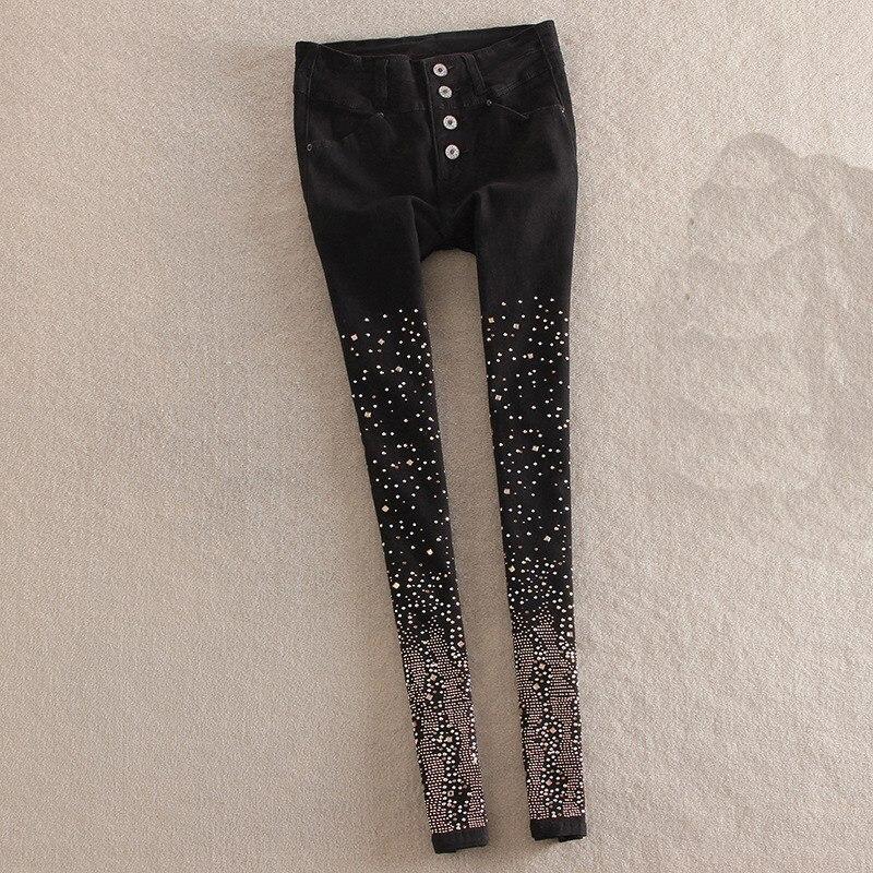 Autumn Women Rhinestone Jeans Skinny High Waist Single Breasted Denim Pants Plus Size Pencil