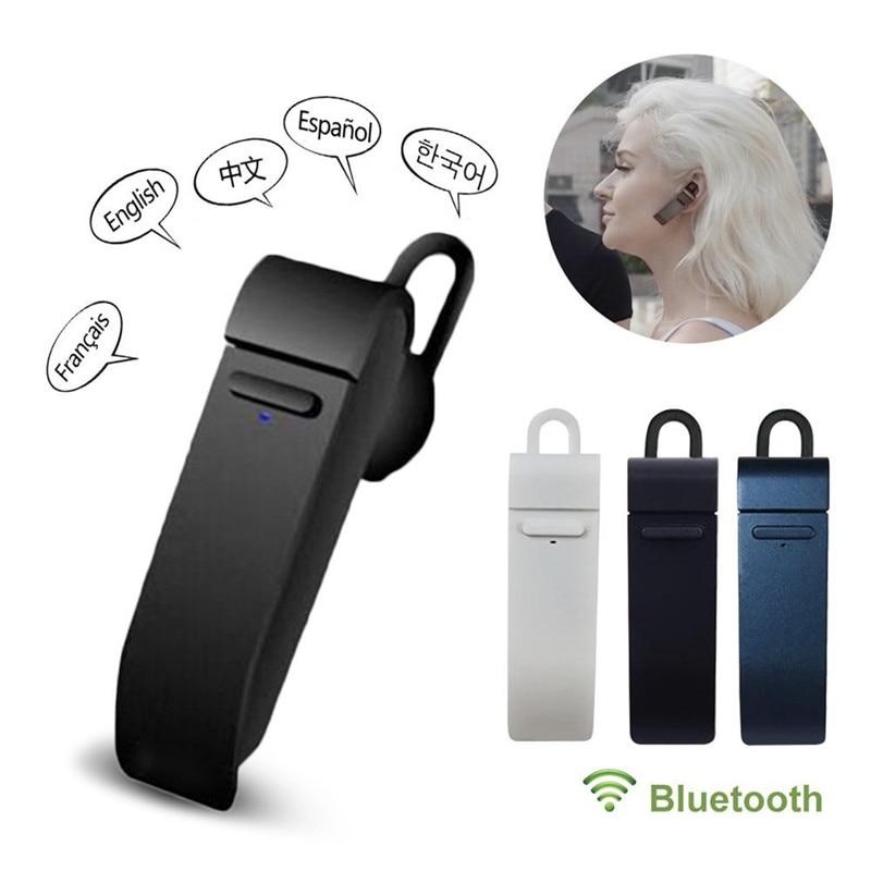 Auricular inteligente con micrófono peiko y traductor Bluetooth de 23 idiomas, auricular Bluetooth inalámbrico de traducción en línea