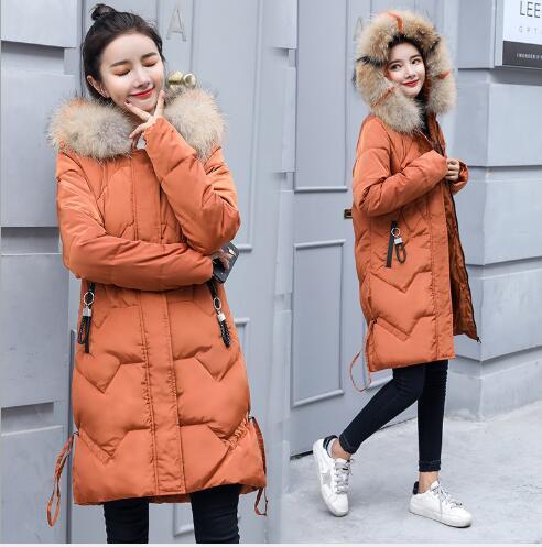 Women Winter   Coats   Long Cotton Casual Fur Hooded Jackets Ladies Warm Winter Parkas Female Overcoat Women   Down     Coat   FR3001