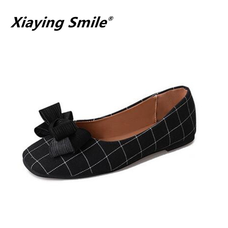 Xiaying Smile 2018 HOT Flats Shoes New Women Boat Shoes Spring Summer Autumn fashion Casual Loafers Butterfly-knot Women shoes xiaying smile summer new woman sandals casual fashion shoes women zip fringe flats cover heel consice style rubber student shoes