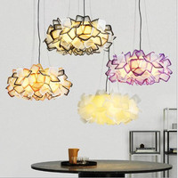 New Designer Clizia Suspension Lamp Nordic Colorful Acrylic Flower PP Led Pendant Light Bedroom Light Free Shipping