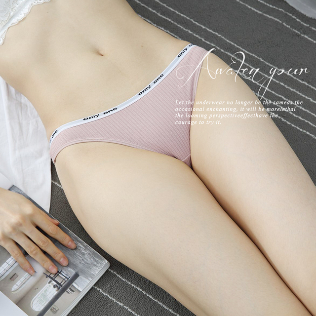 3 Piece Pack Women's Cotton G-String Thong Panties Underwear Briefs Sexy Lingerie Pants Intimate Ladies Letter Low-Rise 5