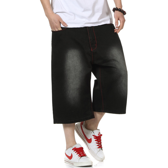 Baggy Jeans Shorts for Men Black Big Size Denim Shorts-in Jeans ...