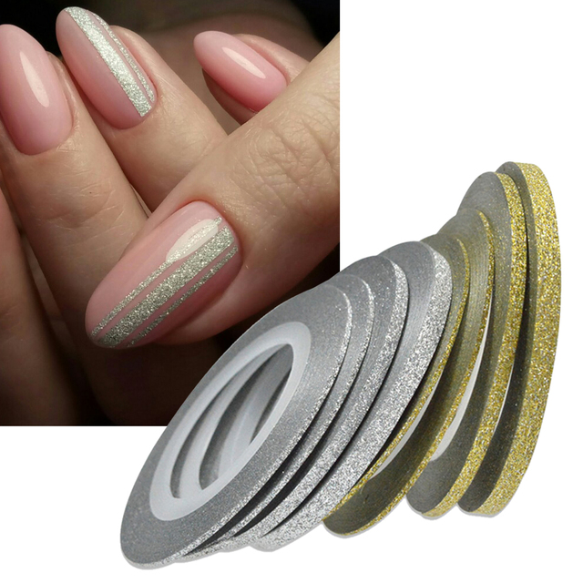1Rolls Nail Art Glitter Gold Silver Stripping Tape Line Strips Decor ...