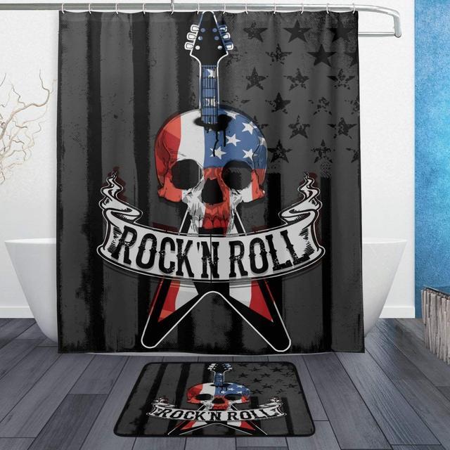 American Flag Sugar Skull Rock Roll Waterproof Polyester Fabric Shower Curtain Doormat Bath Floor Mat Bathroom