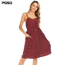 PGSD New Summer casual Point printing wine red Backless sleeveless Button Pockets sling short Dress female Fashion women clothes