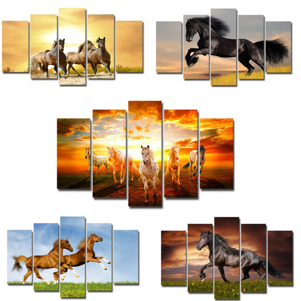 5 pieces canvas art decor running horses animals with sunset series wall mural pictures panting for living room ready to hang