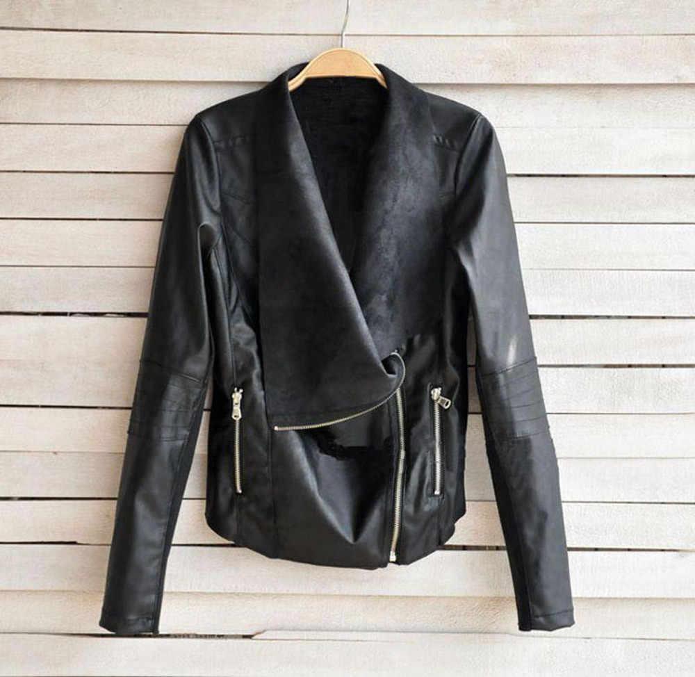 Hirigin 秋女性パンクレザーオートバイのジャケットコートはストリートバイカー飛行カジュアルトップコート生き抜くレザージャケット