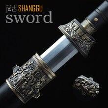 Ebony Sengoku Octahedral шаблон стальной нож Китайский древний король здоровья. Настоящий дамасский стальной меч