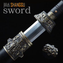 Ebony Sengoku Octahedral Pattern Steel Knife Chinese Ancient King Health. True Damascus Steel Sword