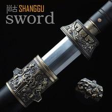 Ebony Sengoku Octahedral Pattern Steel Knife Chinese Ancient King Health. True Damascus Steel Sword