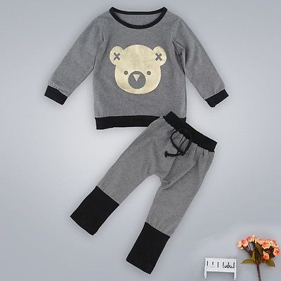 Autumn Winter Baby Boy Cute Clothing 2016 Unisex 2pc Pullover Sweatshirt Top + Pant Clothes Set Baby Toddler Boy Outfit Suit 2pcs set baby clothes set boy