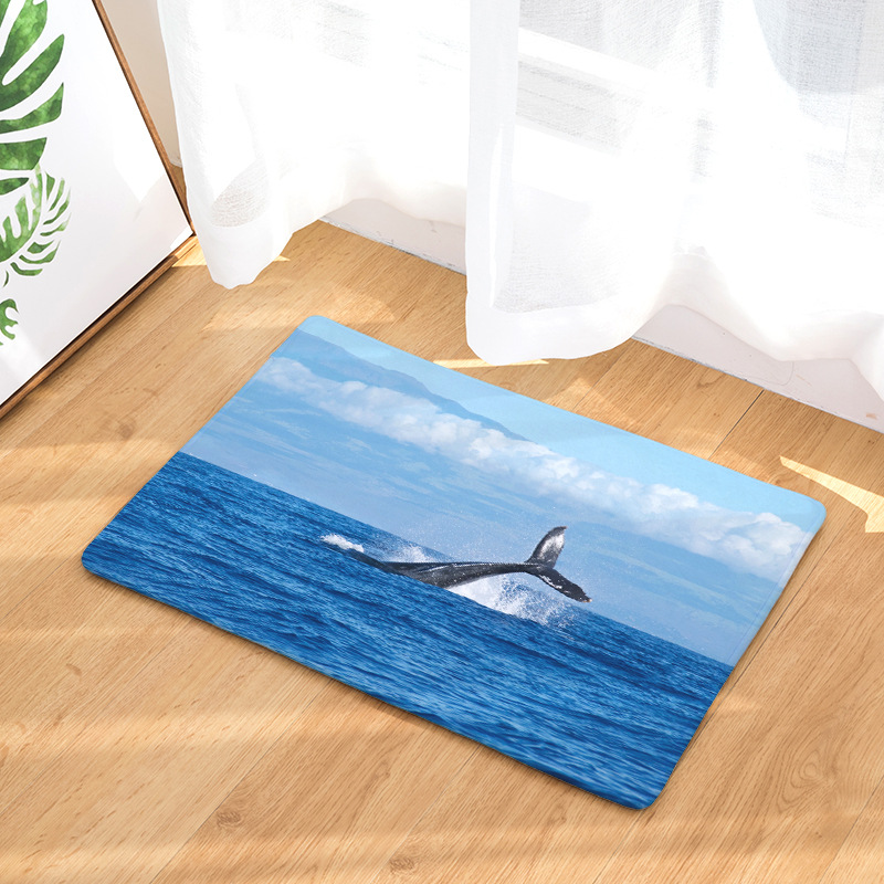 CAMMITEVER Whale Sea Animal Non Slip Bedroom Rug Carpet Floor Cover Decoration Custom Drop Shipping Factory Supply Directly