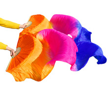 2018 High selling Real Natural Silk Veils 1 Pair handmade women Quality Silk Belly Dancing Fans Dance Orange, rose, royal blue
