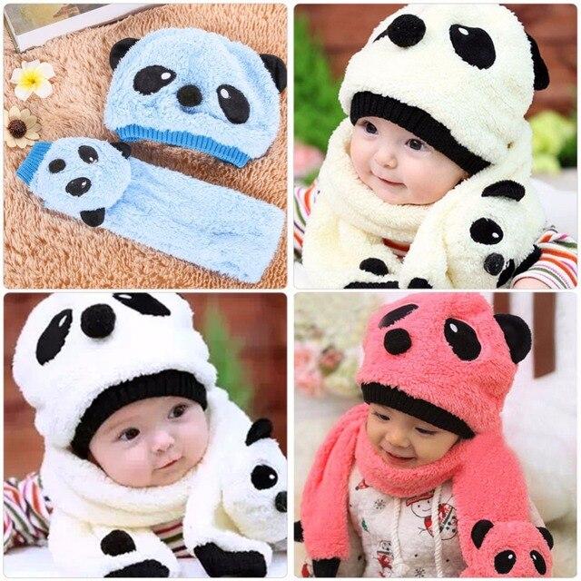 Зимняя теплая шапка для младенца шарф милый комплект Кепка с пандой  шерстяные вязаные Дети Кепки для 60805607319bb