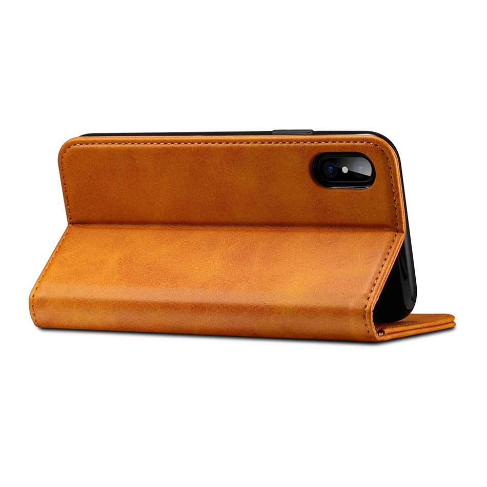 !ACCEZZ Luxury Leather Phone Case Card Pocket Full Protective Cover For iphone X XS MAX XR Wallet Flip Cases Shell Stand Holder (6)