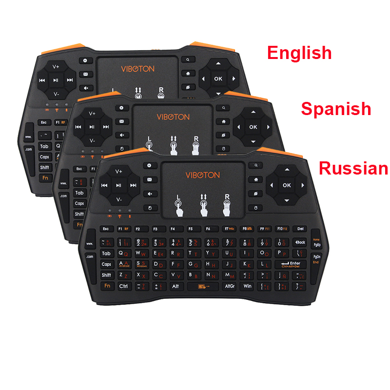 2 4Ghz Wireless Mini Keyboard Remote Controller Russian Spanish English Keyboard for PC Laptop Android TV